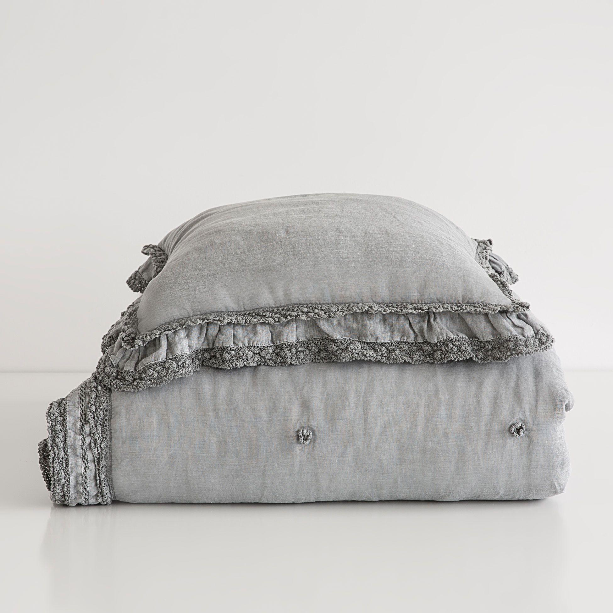 edred n lino lavado puntilla gris oscuro cama nueva coleccion zara home espa a ropa de. Black Bedroom Furniture Sets. Home Design Ideas