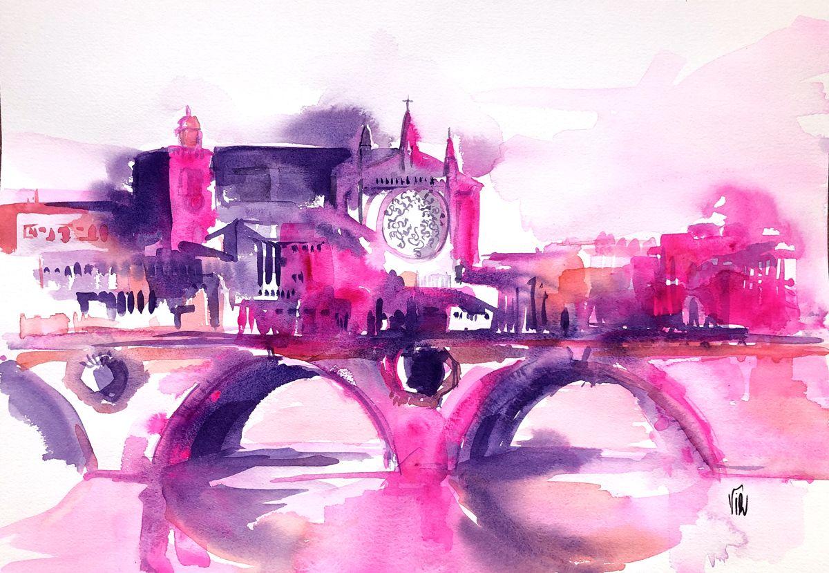 Aquarelle De Toulouse Watercolor Toulouse City Aquarelle
