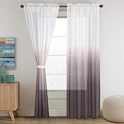 Amazon Com Linen Sheer Curtains 96 Inches Long Light Fitration
