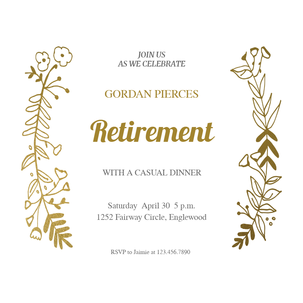 Side by Side Gold - Free Retirement & Farewell Party Invitation ...