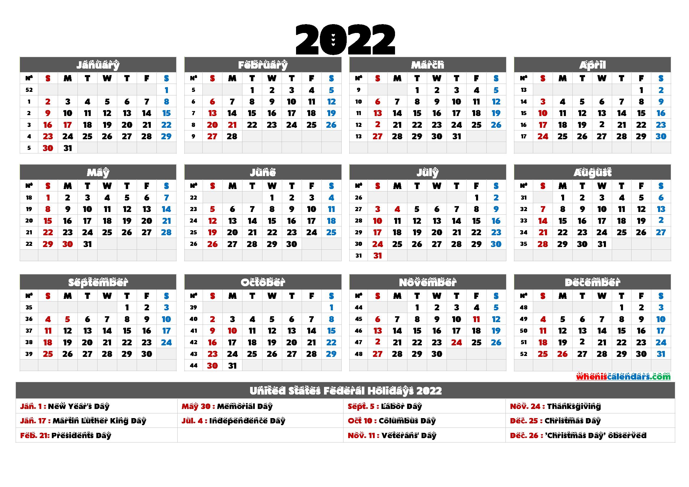 Work Week Calendar 2022.Printable 2022 Calendar With Holidays 6 Templates Calendar Printables Free Printable Calendar Templates Printable Free