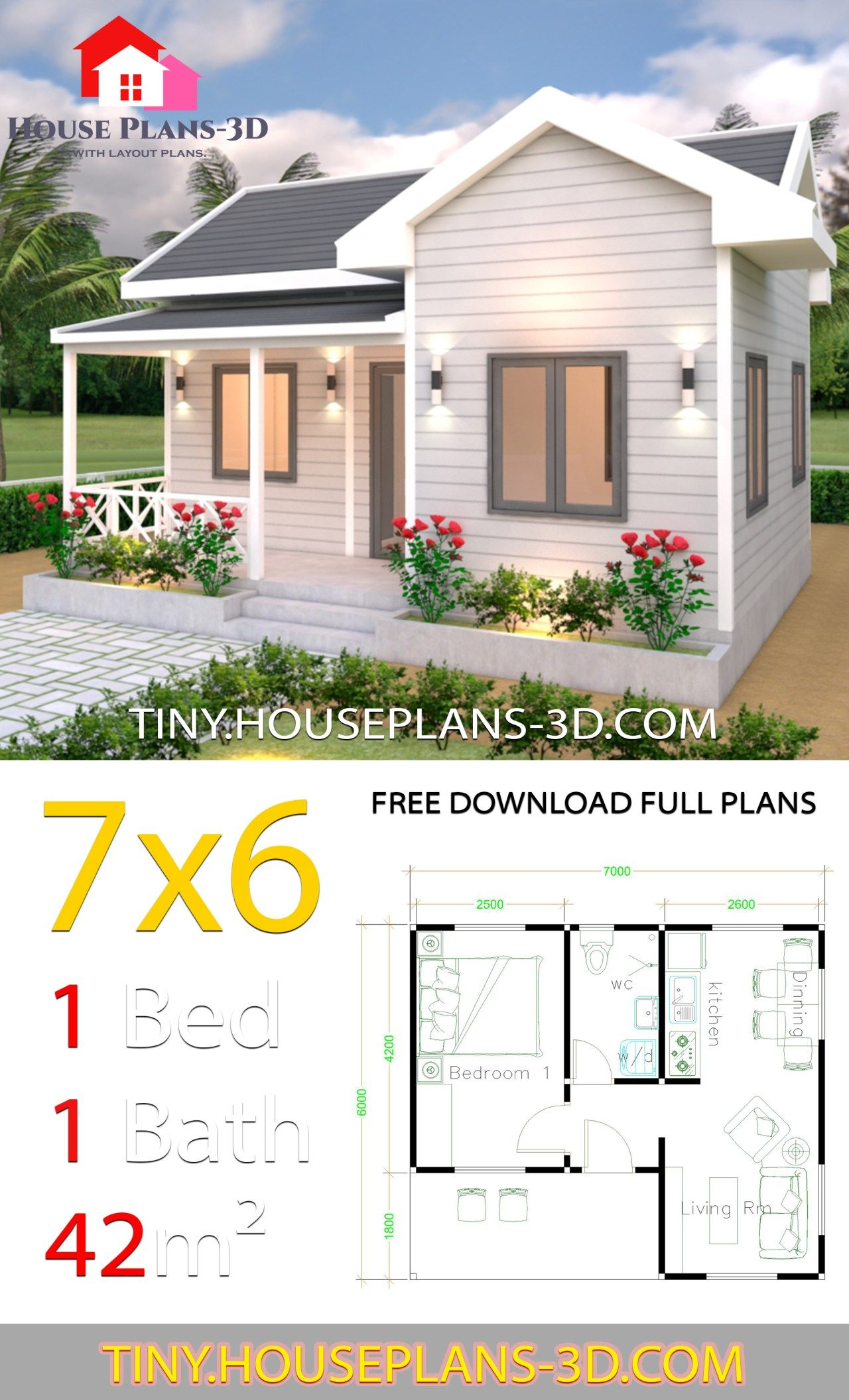 Tiny House Plans 7x6 With One Bedroom Cross Gable Roof Tiny House Plans Small House Design Plans Small House Layout House Design Pictures