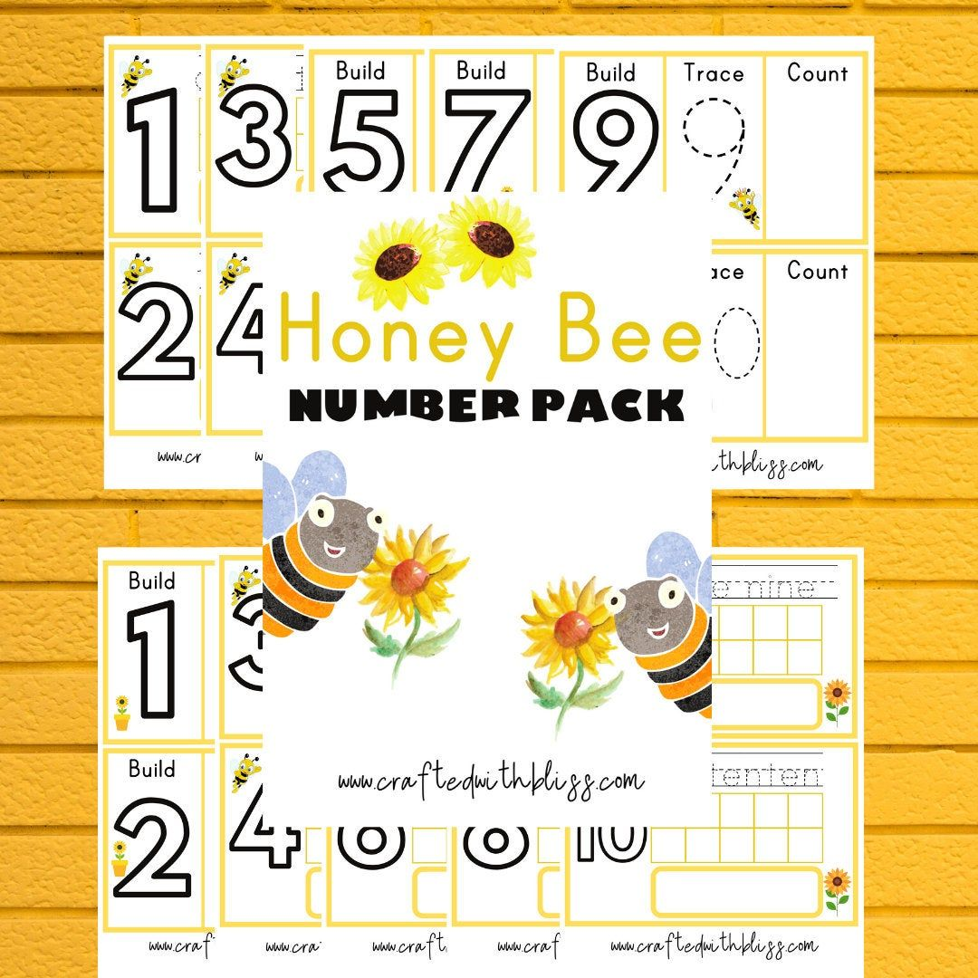 Honey Bee Number Pack Play Dough Mats Tracing And Counting