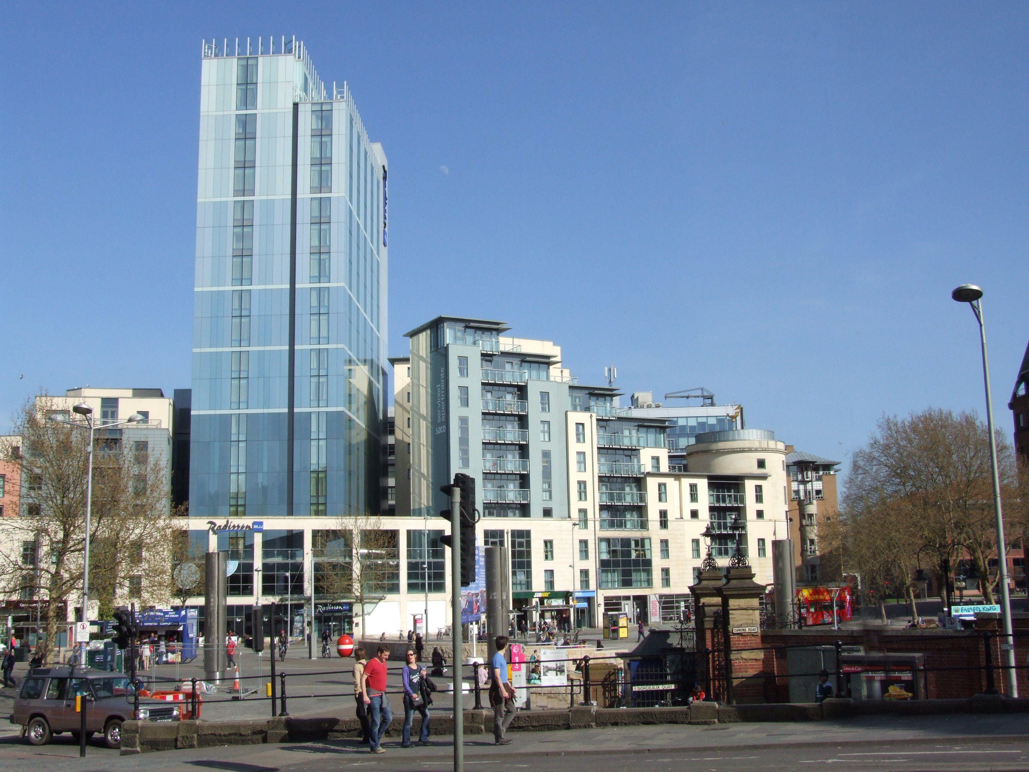 Bristol uk city centre and the raddison blu hotel and