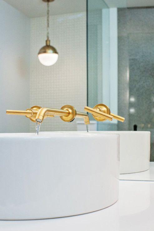Amazing Bathroom Features Frameless Mirror Over Round Bowl Sink Kohler Vox Vessel Above
