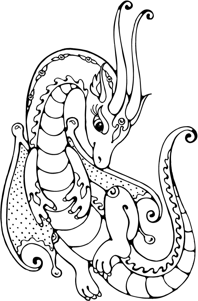 The Dragon Has A Very Interesting Shape Coloring Pages