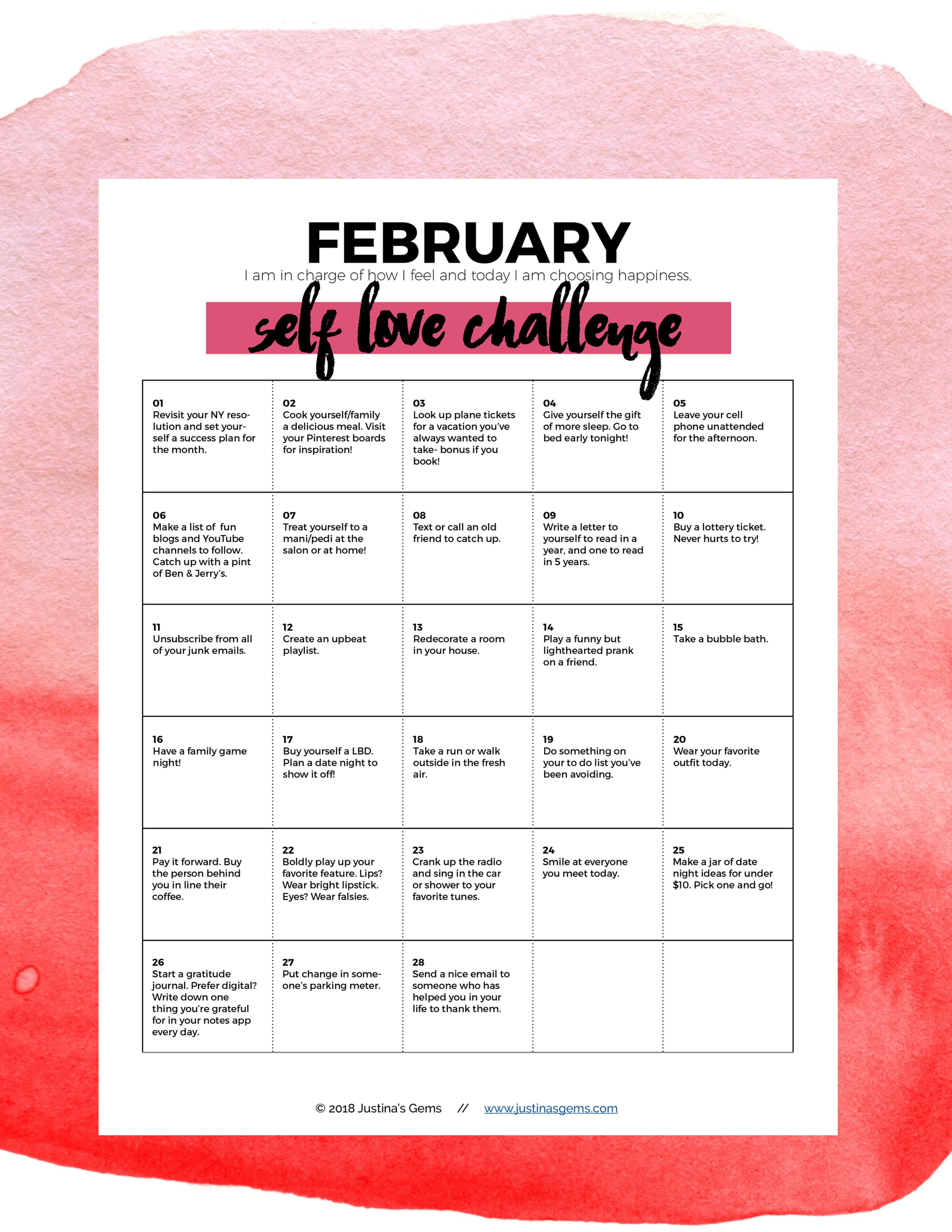 February Self Love Challenge