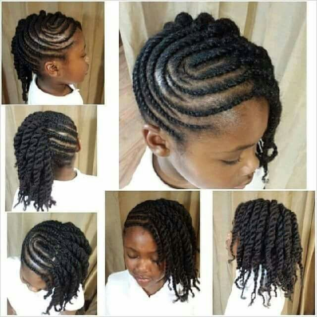 Little Girl Natural Hair Side Twist Braided Cornrows