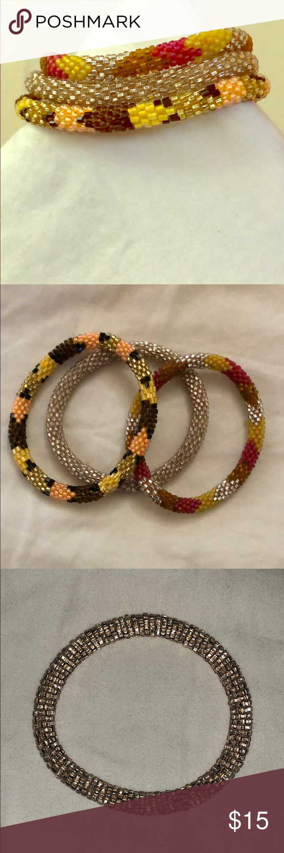 Beaded Set Of 3 Mae Movement Bracelets Multi Color