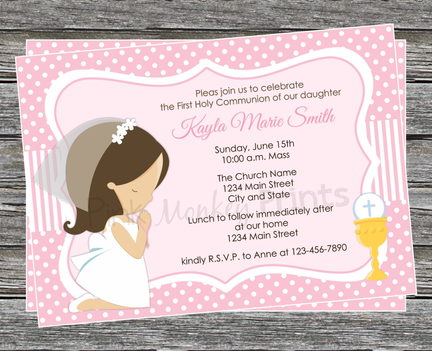 DIY Girl First Communion Invitation 2 by PinkMonkeyPrints on Etsy – First Communion Invitation Cards