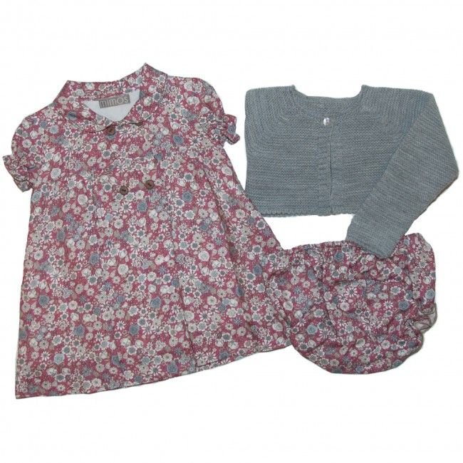 Baby set floral carmine and grey