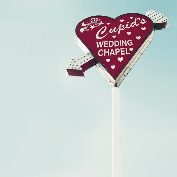 Cupids Chapel Travel Photography Blue Red Valentine Heart Love Las Vegas Sign Office Decor