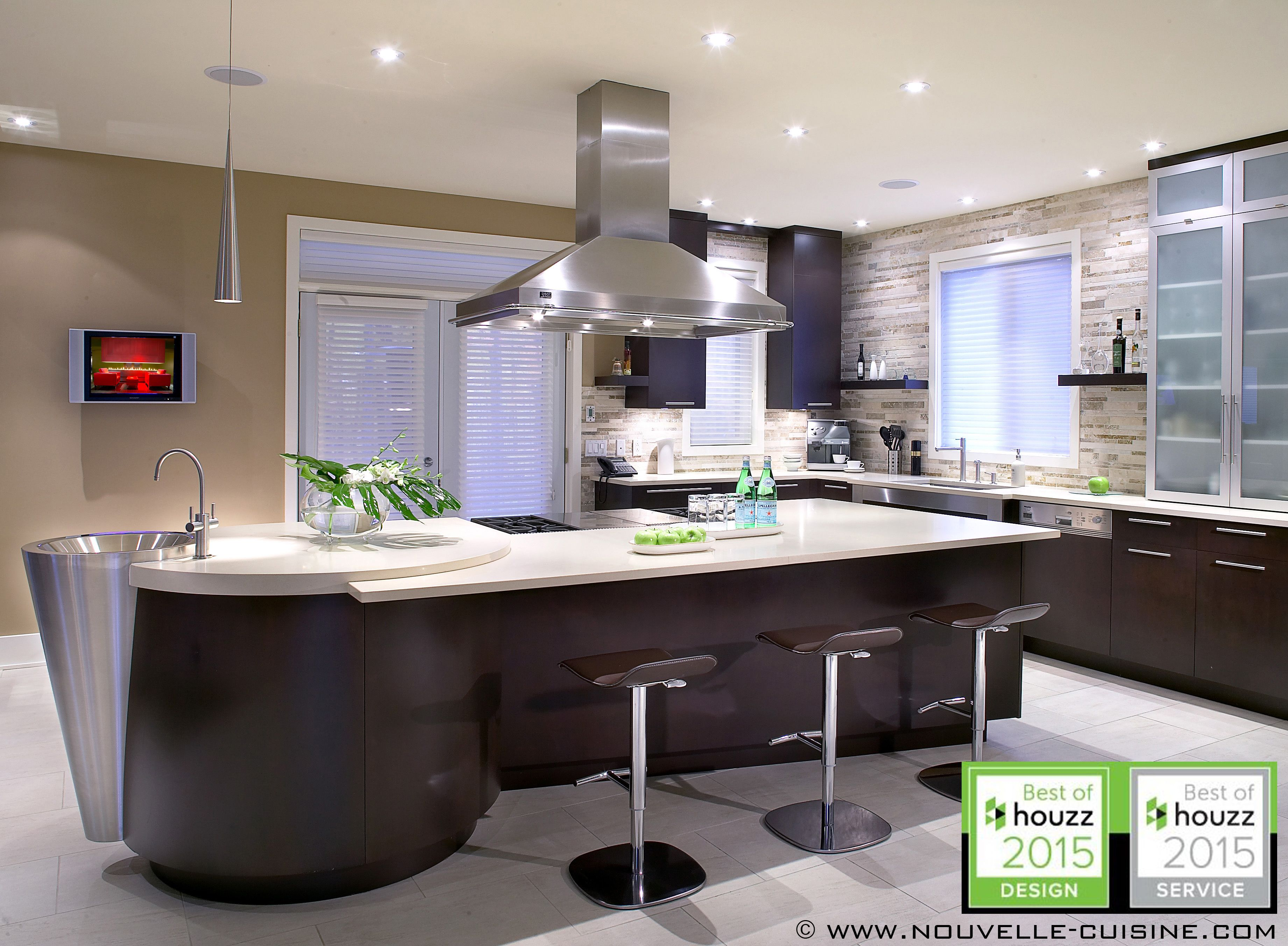 Cherry Wood Veneer Cabinets And White Quartz Countertops Can Be Found In This Modern Kitchen D American Kitchen Design Kitchen Cabinets Decor Kitchen Design