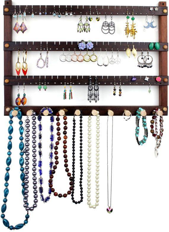 Jewelry Organizer Wall Mount Wooden Earring Holder Peruvian