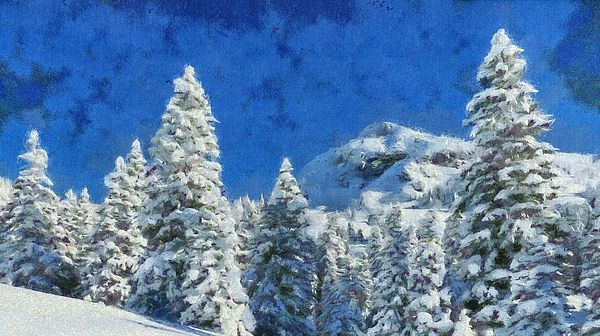 Winter Morning Landscape Snow Pine Trees On A Mountain With Images Landscape Art Prints Mountain Wall Art Mountain Paintings