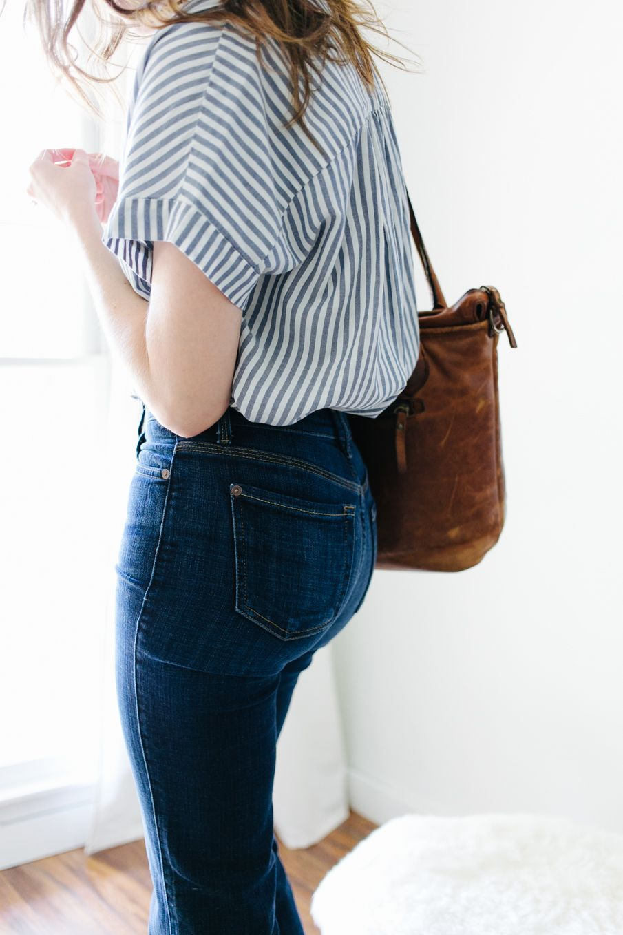 a simple outfit recipe for flare jeans | Jean outfits, Striped ...