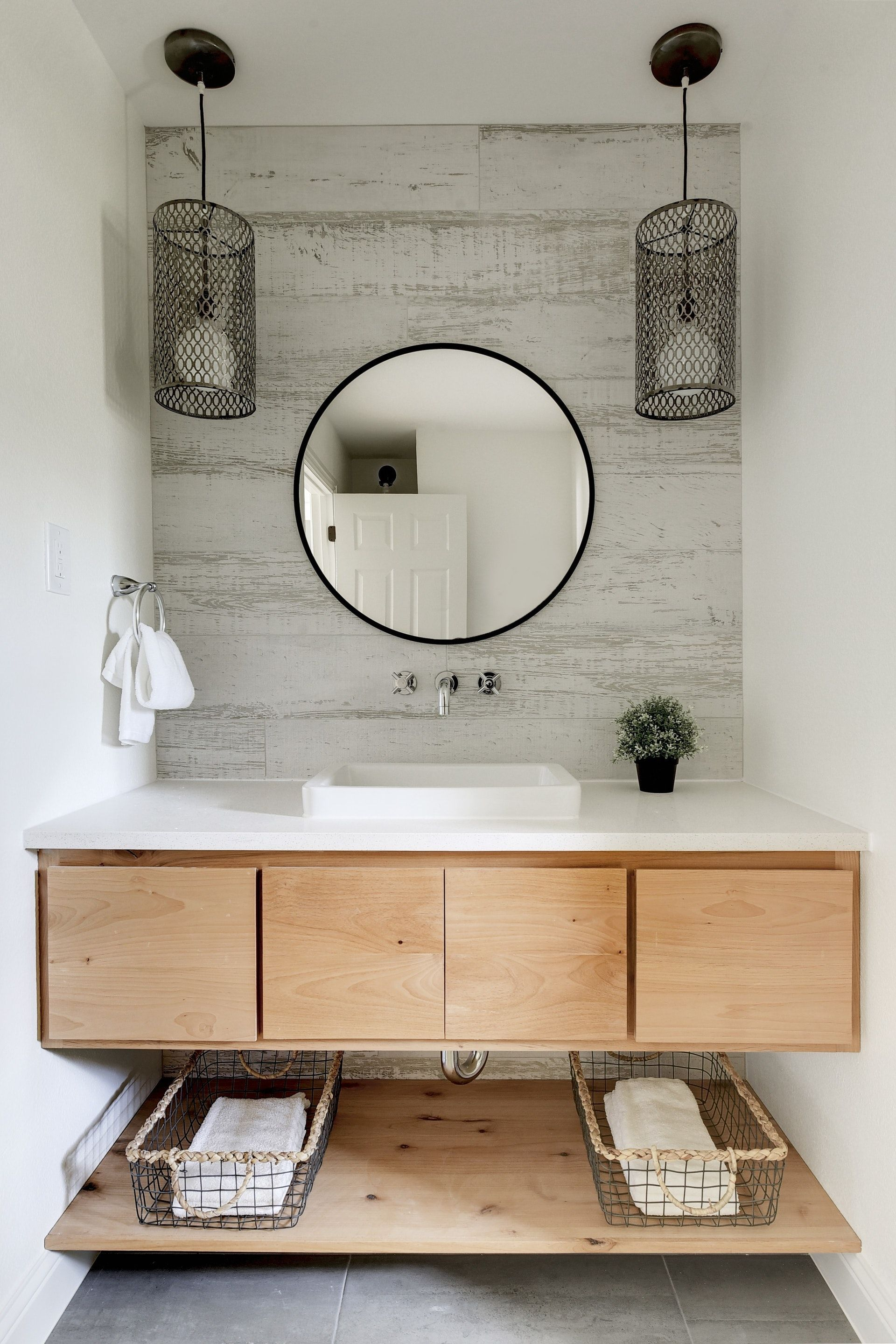 Hall Bathroom With Floating Flat Front Alder Cabinet And Lower