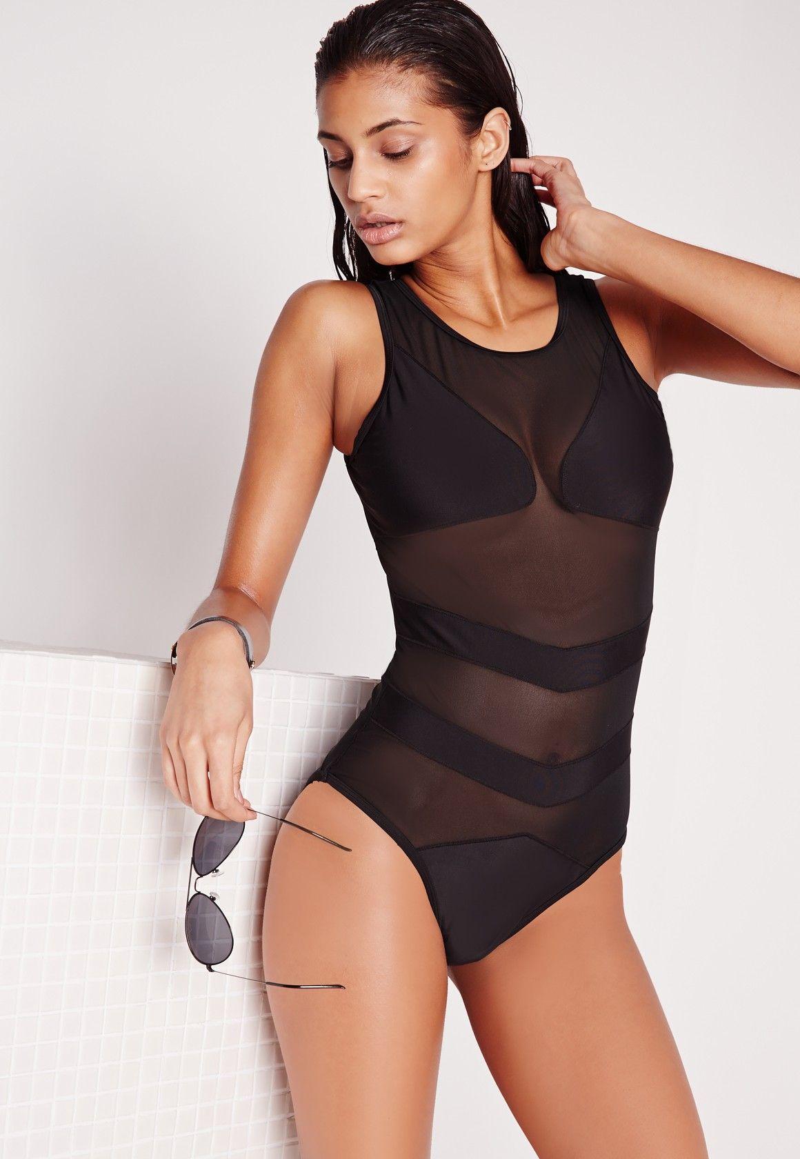 449d329e62 Missguided - Mesh Detail Swimsuit Black