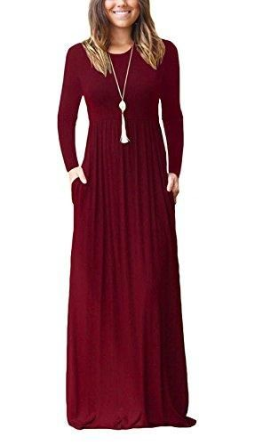 302ddd4c31d6 Long Sleeve Loose Solid Long Maxi Dress with Pockets