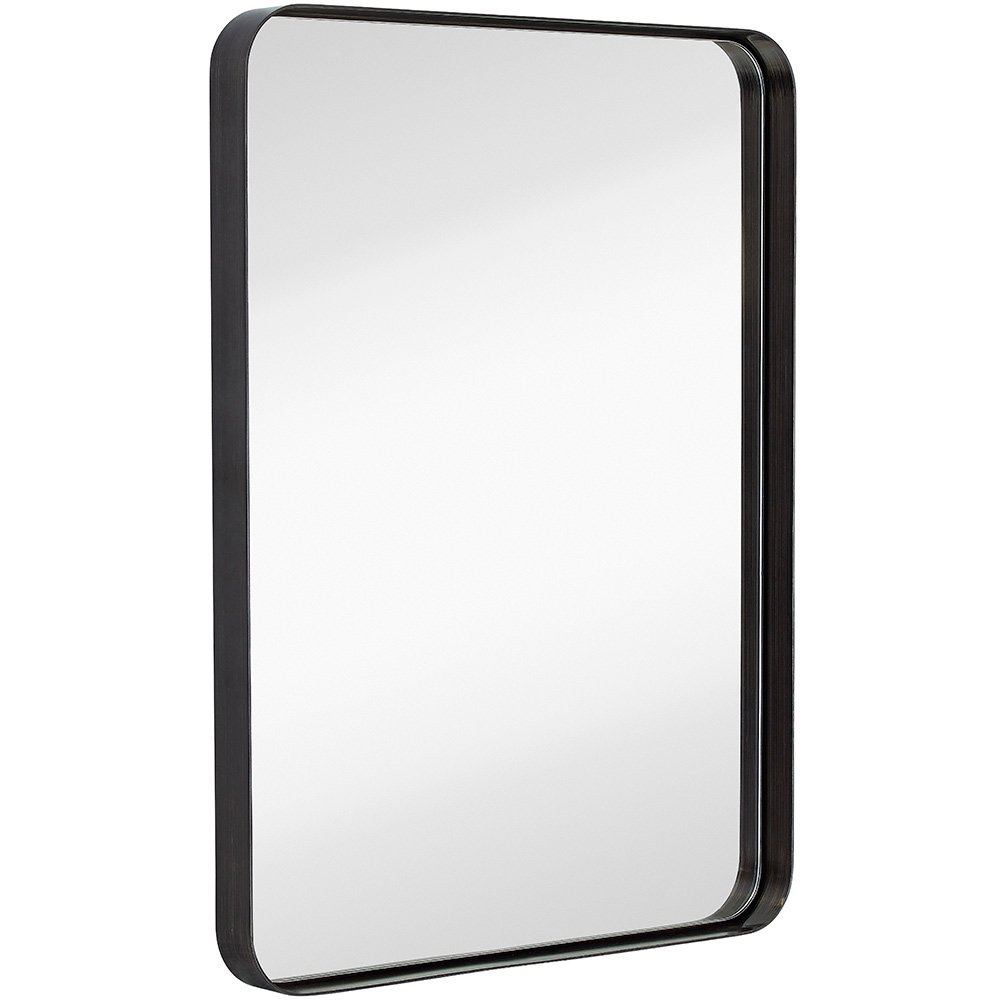 181 Amazon Com Hamilton Hills Contemporary Brushed Metal Wall Mirror Glass Panel Bronze Framed Rou Framed Mirror Wall Black Mirror Frame Powder Room Mirror