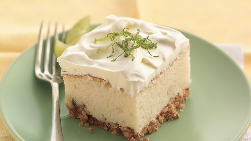 Margarita cake offers the favorite sweet and salty combo with a crunchy pretzel crust.