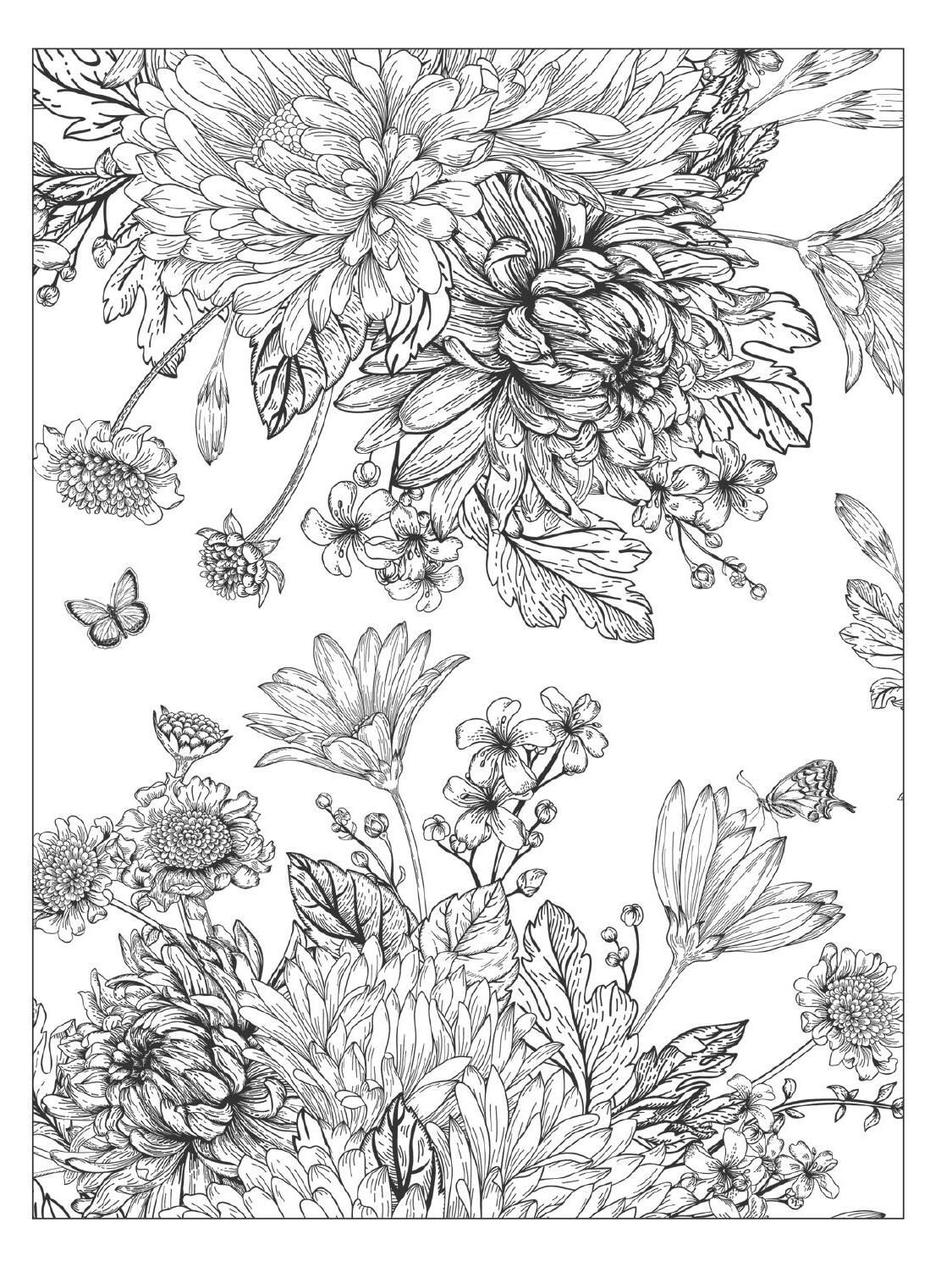 Beautiful Flowers Detailed Floral Designs Coloring Book Preview Designs Coloring Books Garden Coloring Pages Flower Coloring Pages