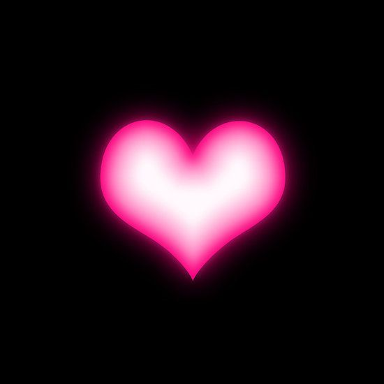 Shiny Pink Heart On Black Background Iphone Case Cover Pink