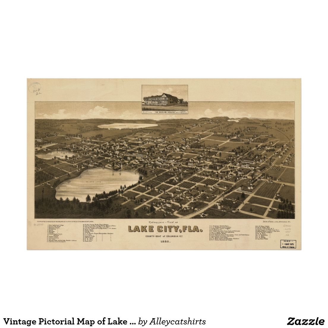 Map Of Lake City Florida.Vintage Pictorial Map Of Lake City Florida 1885 Poster Vintage