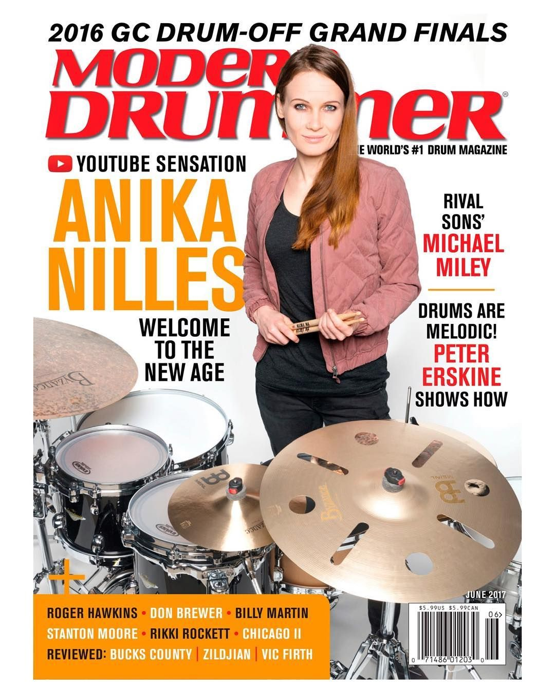 Check Out The June Issue Of Moderndrummer Magazine Featuring Anika Nilles A Lesson From Peter Erskine Coverage Of The 2016 Guita Modern Drummer Drummer Anika