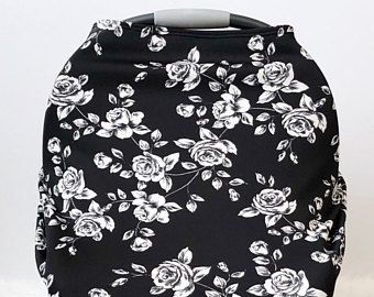Black And White Floral Car Seat Cover Jersey Knit Nursing