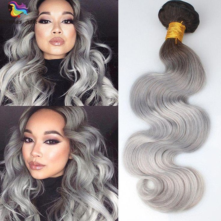 1B/Grey Ombre Remy Human Hair Extensions Body Wave Hair 3
