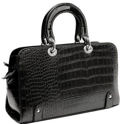 Black Vintage Style Faux Crocodile Handbag For The Mg Collection