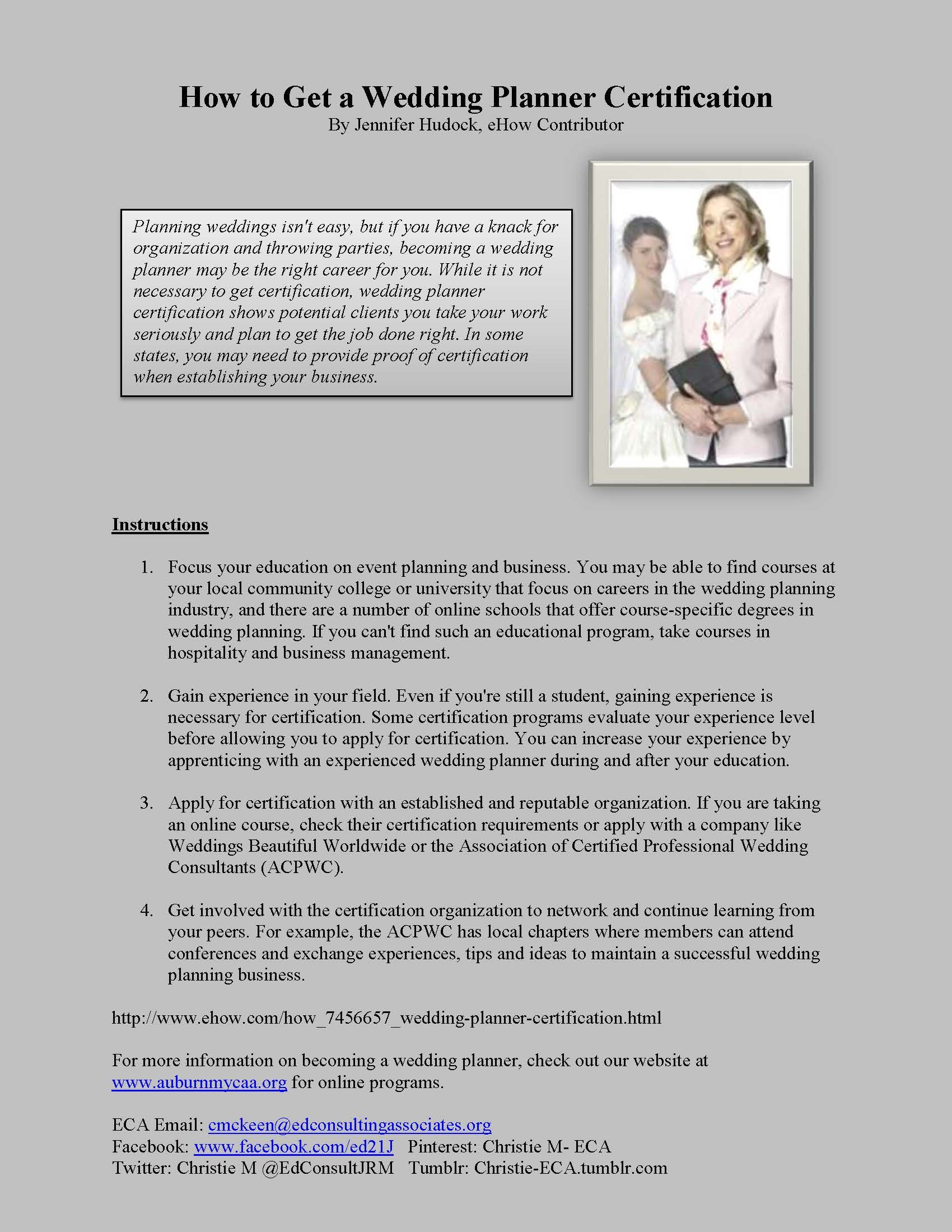 Wedding Planner University Course Tbrbinfo