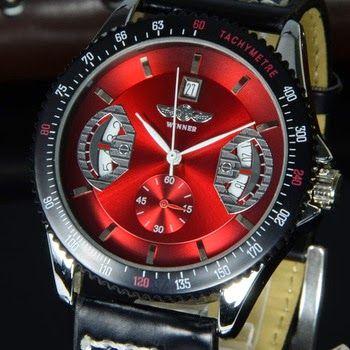 Reloj de Pulsera Esfera Roja con Calendario  148003aa792