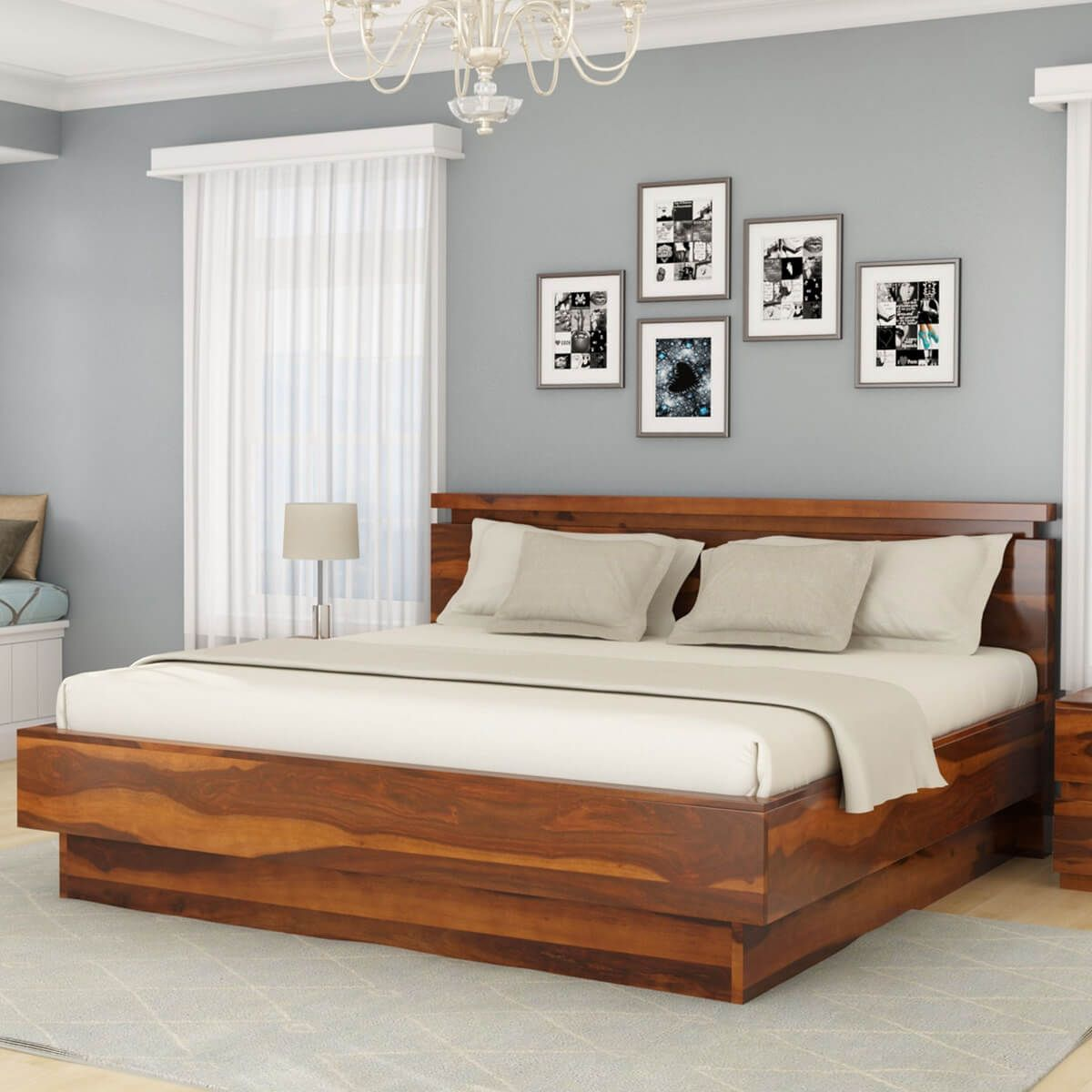 Modern Simplicity Solid Wood King Size Platform Bed Solid Wood