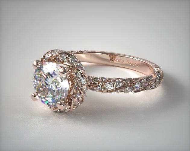 41121 Engagement Rings Halo 14k Rose Gold Twisted Pave Ring Item