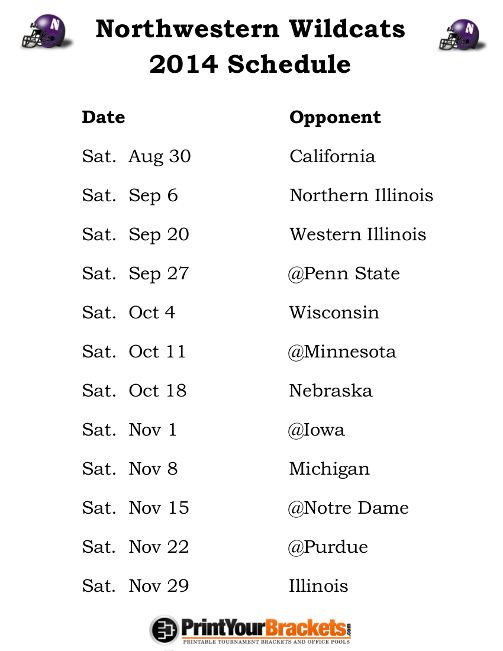 Printable Northwestern Wildcats Football Schedule 2014 With