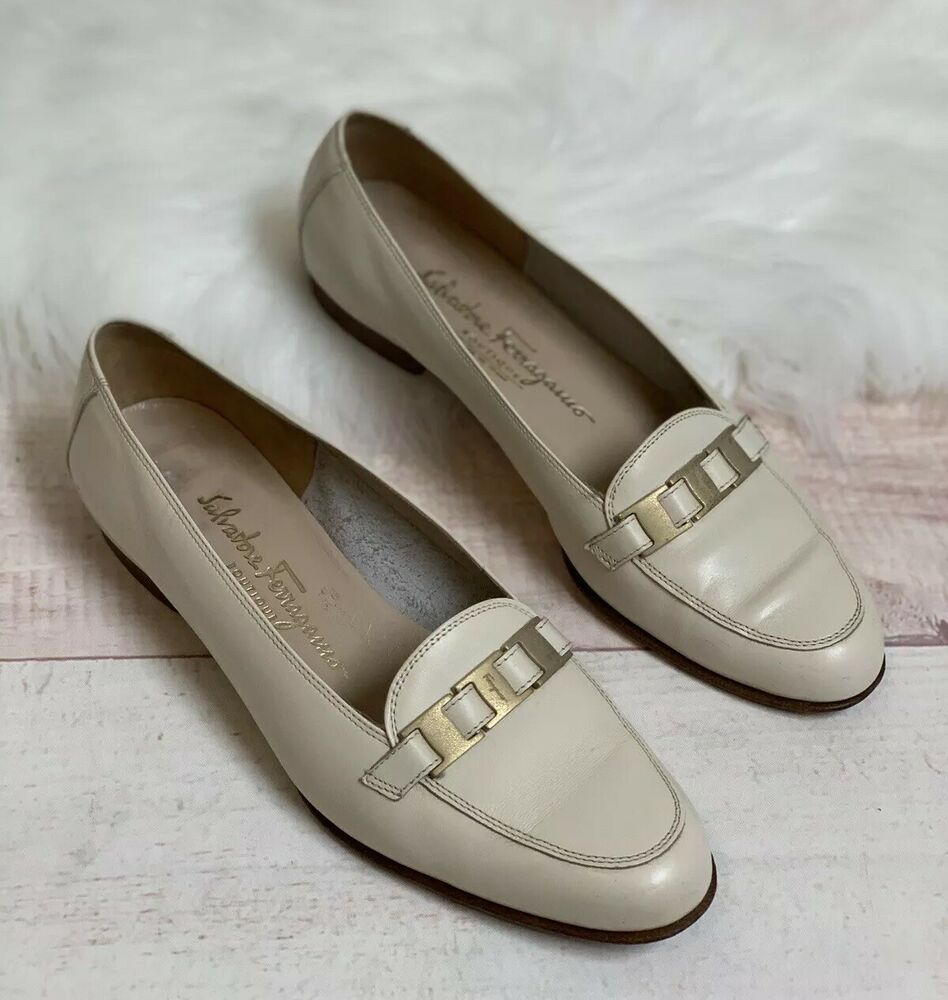 Salvatore Ferragamo Off White Gold Buckle Work Dress Loafers Women Size 8b Salvatoreferragamo Loafersmoccasins Loafers For Women Leather Shoes Woman Loafers [ 1000 x 948 Pixel ]