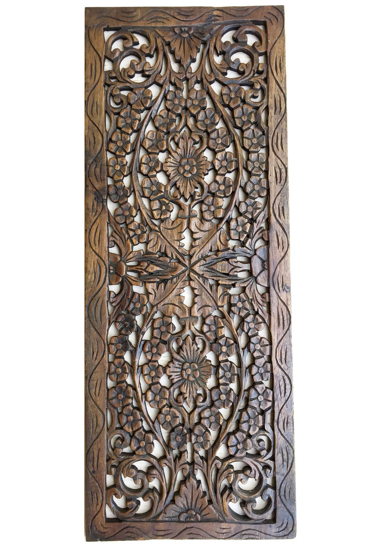 Decorative Wall Panels For Living Room: Floral Wood Carved Wall Panel. Wall Hanging. Asian Home