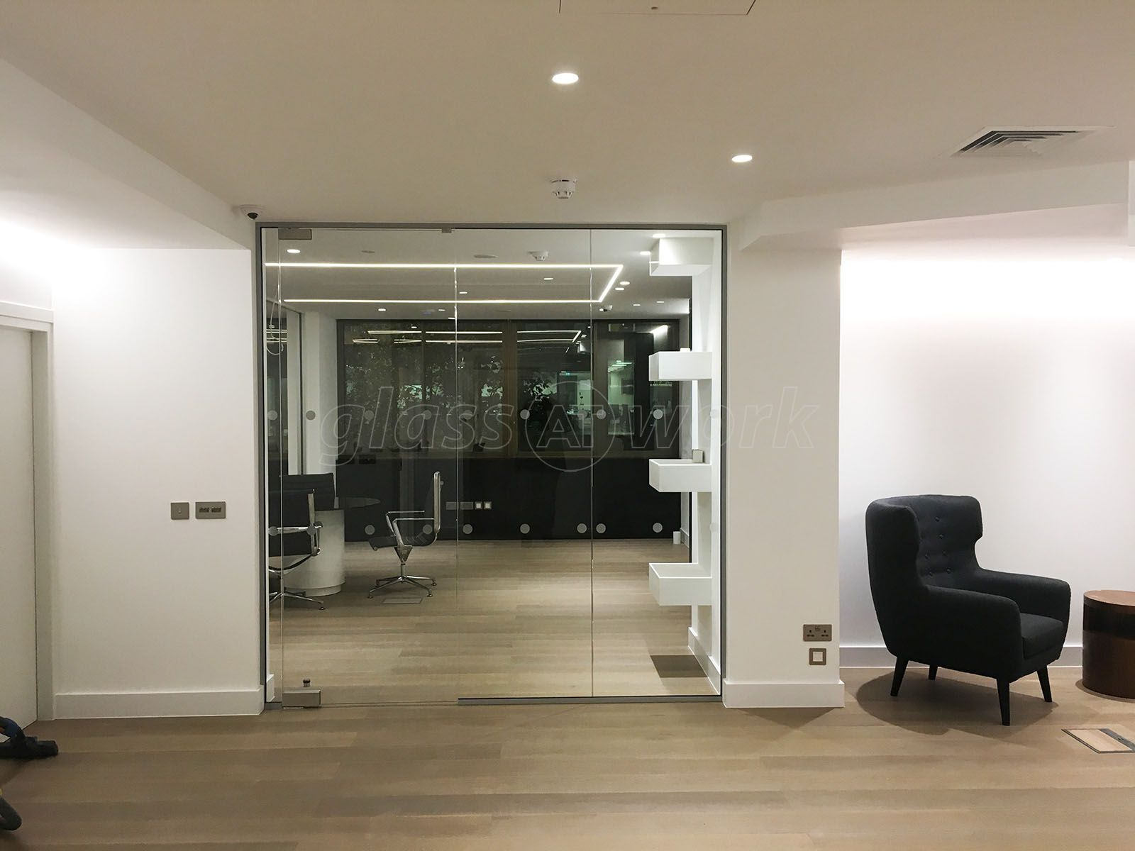 contemporary glass office. From Glass At Work: Contemporary Corner Office For London Villa Ltd In London.