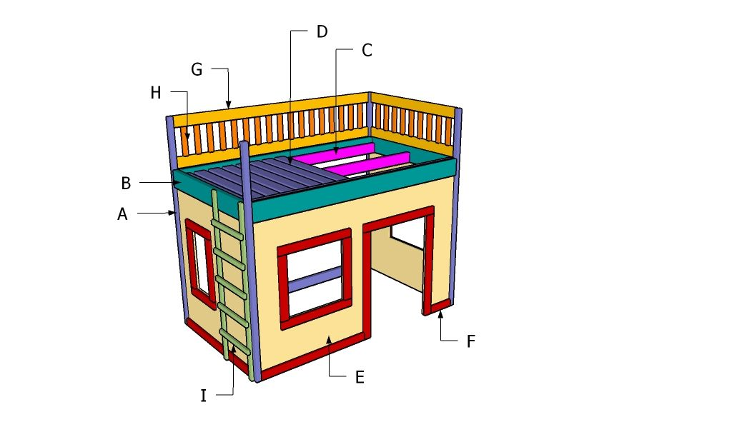 Playhouse loft bed plans | That's clever! | Playhouse loft bed, Loft on high ceiling loft, barn plans with loft, playhouse plans and blueprints, garage plans with loft, tree house plans with loft, playhouse loft ladder, floor plans with loft, playhouse plans with porch, playhouse with slide plans, playhouse with deck, playhouse with loft and porch, playhouse plans with storage,