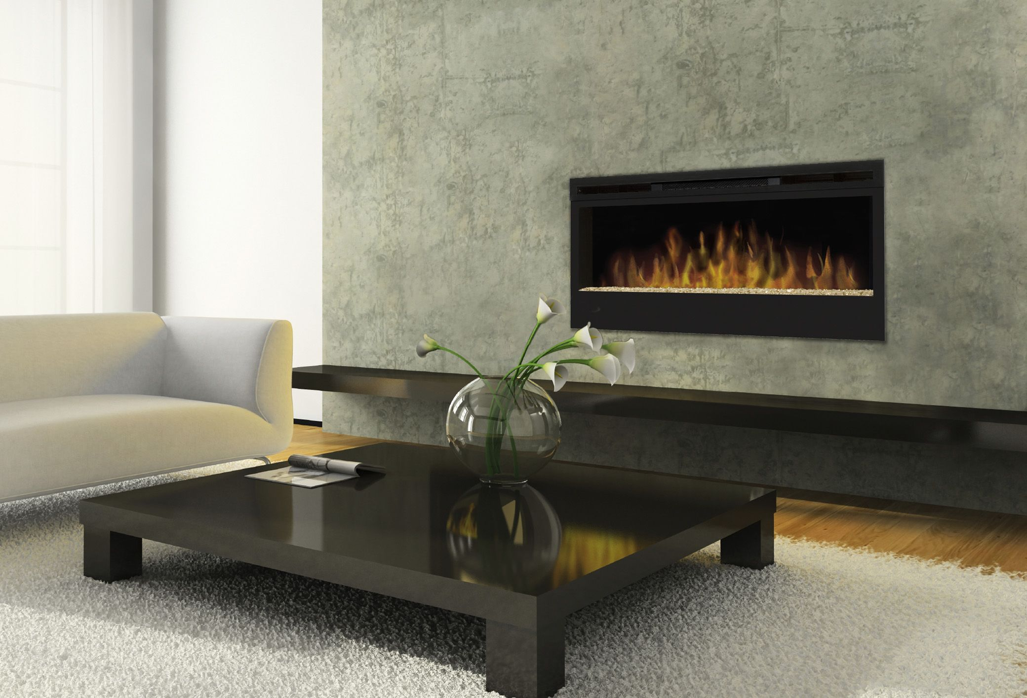 Living room with electric fireplace google search fireplace decor pinterest wall mount - Contemporary wall mount fireplace ...