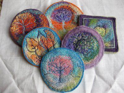 embroidery on felting Kayla coo
