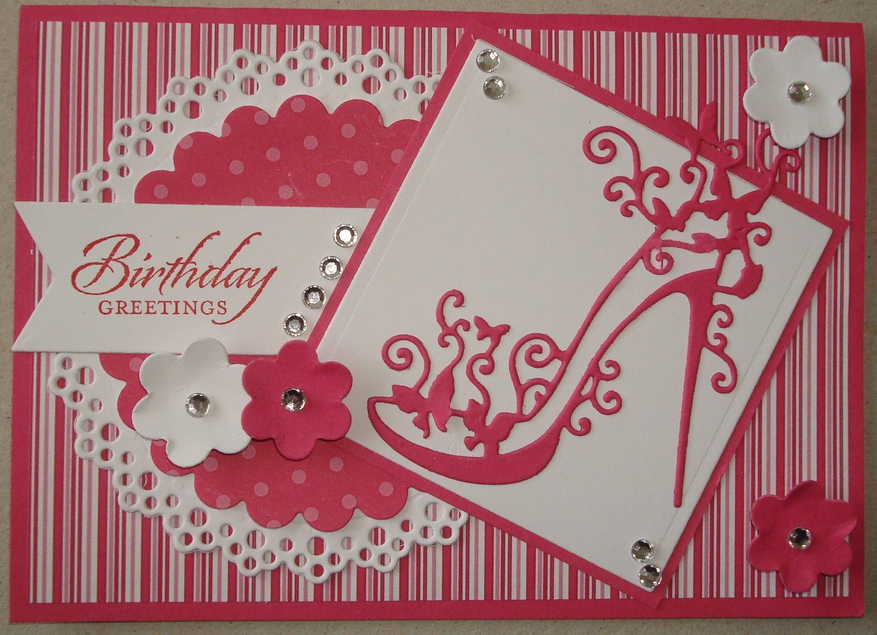 Card Making Ideas Using Tattered Lace Dies Part - 16: Hand Made Birthday Card Using Tattered Lace Shoe Die And Doily Die