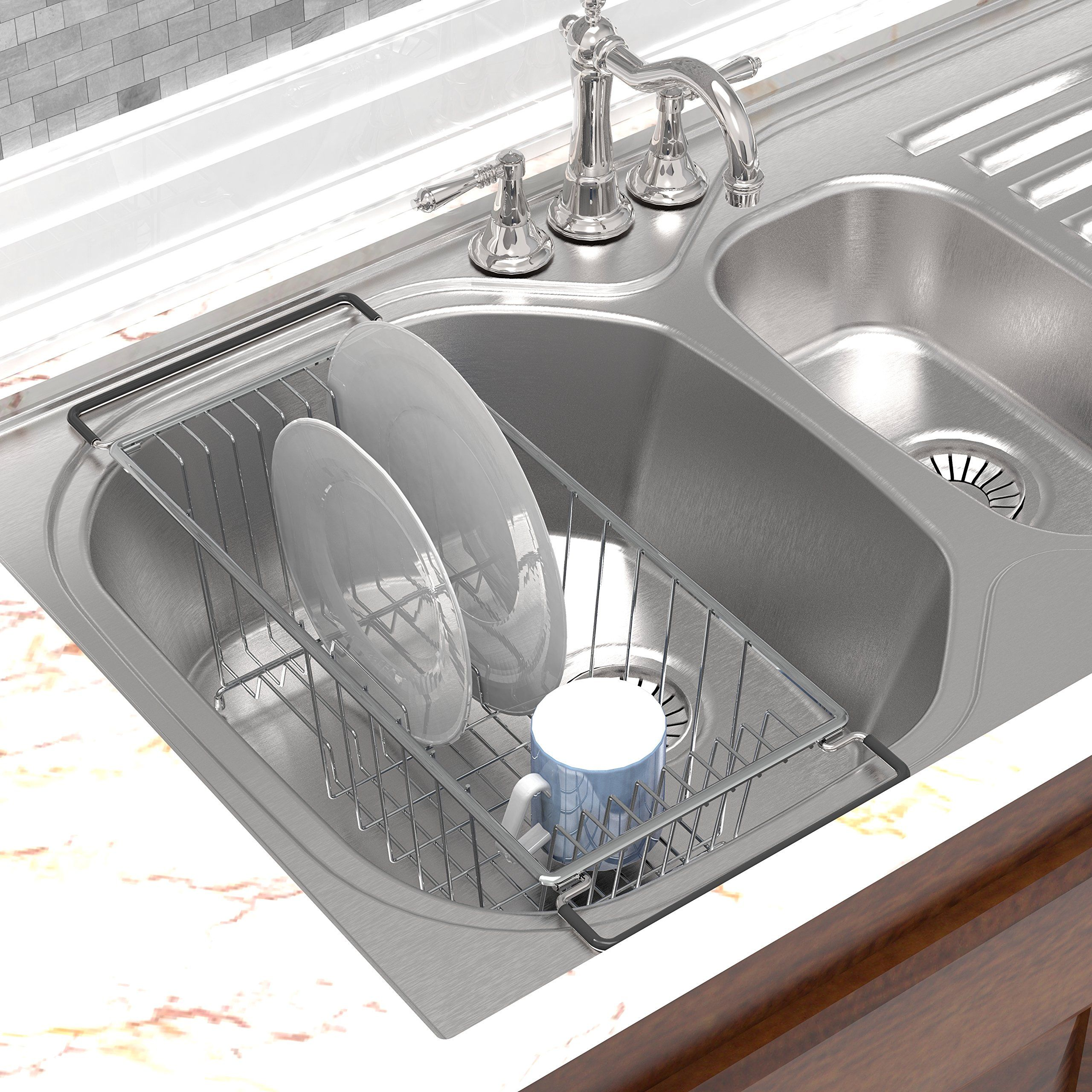 Chrome Over the Kitchen Sink Dish Drainer Drying Rack
