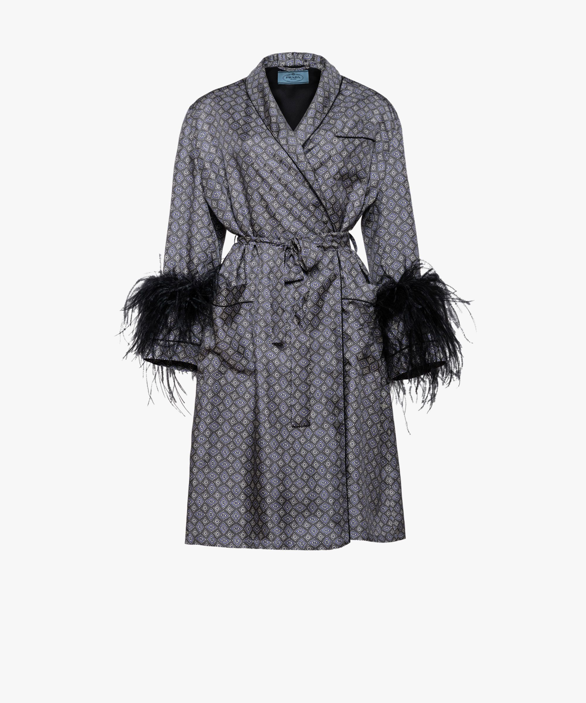 d4dbbb7eac44f4 Prada - Wisteria silk coat with black feathers | COATS/JACKETS in ...