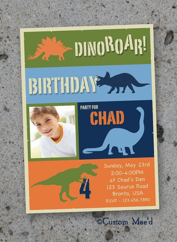 Personalized Dinosaur Birthday Invitations