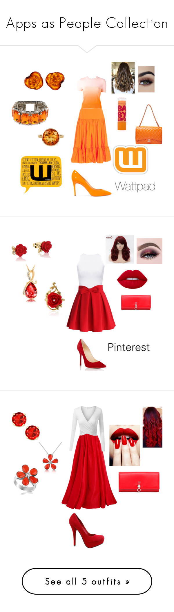 """Apps as People Collection"" by artybunbun on Polyvore featuring Oscar de la Renta, Carven, Maybelline, Be-Jewelled, Plukka, Nanni, Casadei, WearAll, Chicwish and Christian Louboutin"