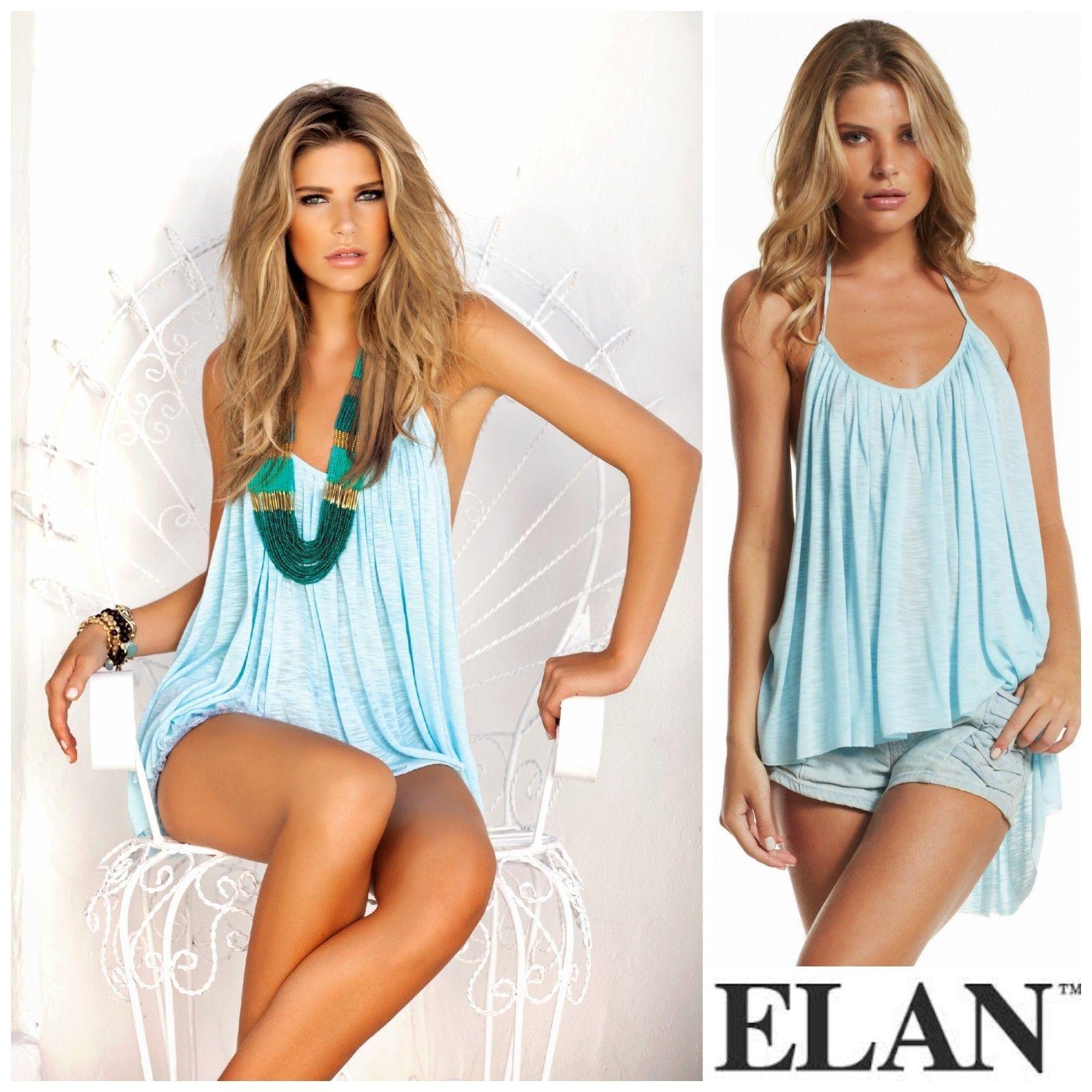Elan Rs1019 Blue Halter Pleated Flounced Sexy Hi Low Flowy