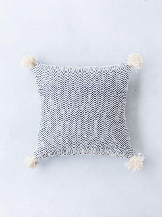 Handwoven Chevron Pom Pom Pillow Cover, Bohemian Decorative Pillow ...